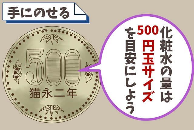 【ステップ①】500円玉大くらいの量をのせる