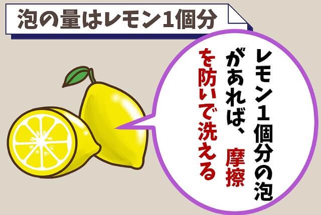 【ポイント③】レモン1個分の泡を作る