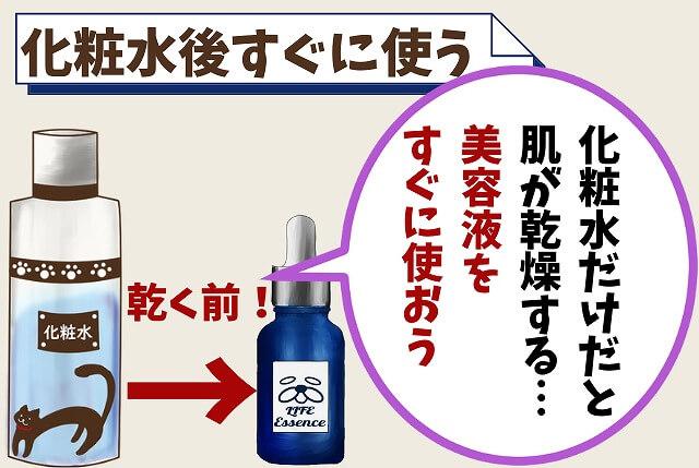 【ポイント②】化粧水が乾く前につける
