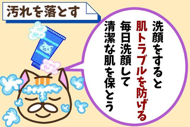 ①:「洗顔の効果」