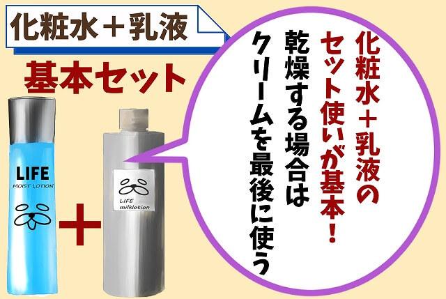 【ポイント②】基本は化粧水と乳液だけでOK