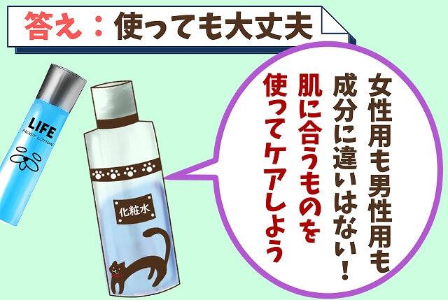 【質問②】女性用の化粧水は使ってもいいの?